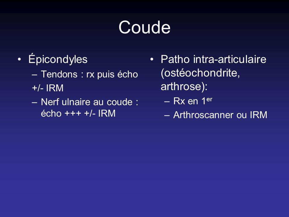 Coude Épicondyles –Tendons : rx puis écho +/- IRM –Nerf ulnaire au coude : écho +++ +/- IRM Patho intra-articulaire (ostéochondrite, arthrose): –Rx en