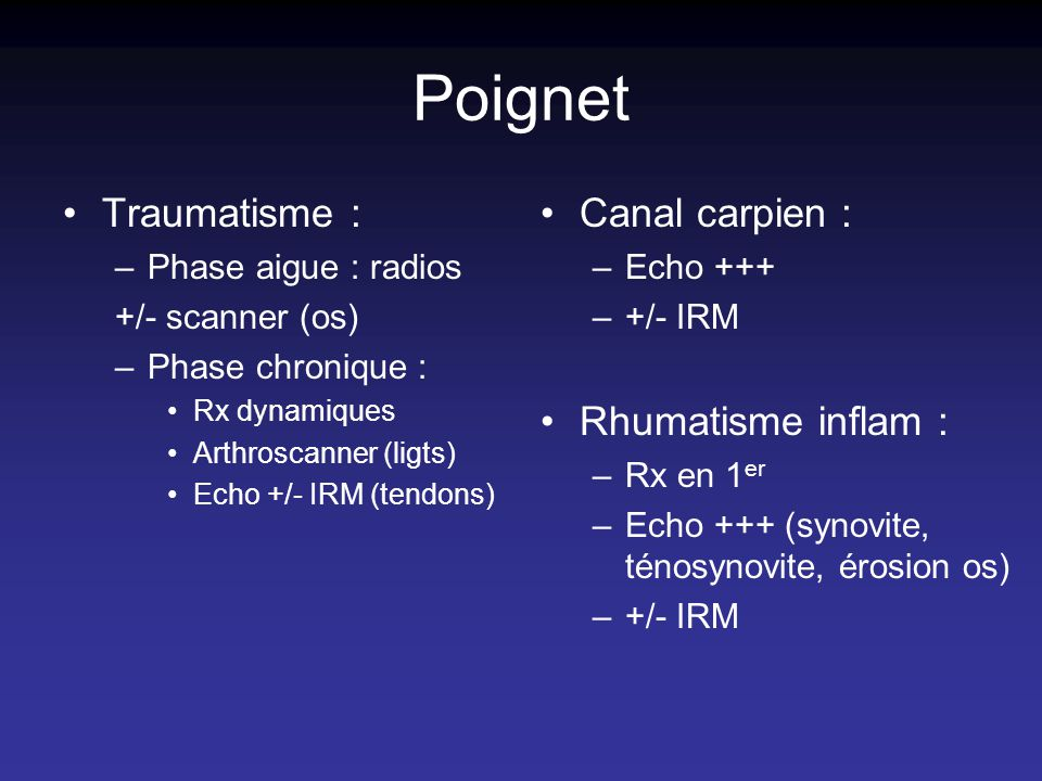 Poignet Traumatisme : –Phase aigue : radios +/- scanner (os) –Phase chronique : Rx dynamiques Arthroscanner (ligts) Echo +/- IRM (tendons) Canal carpien : –Echo +++ –+/- IRM Rhumatisme inflam : –Rx en 1 er –Echo +++ (synovite, ténosynovite, érosion os) –+/- IRM