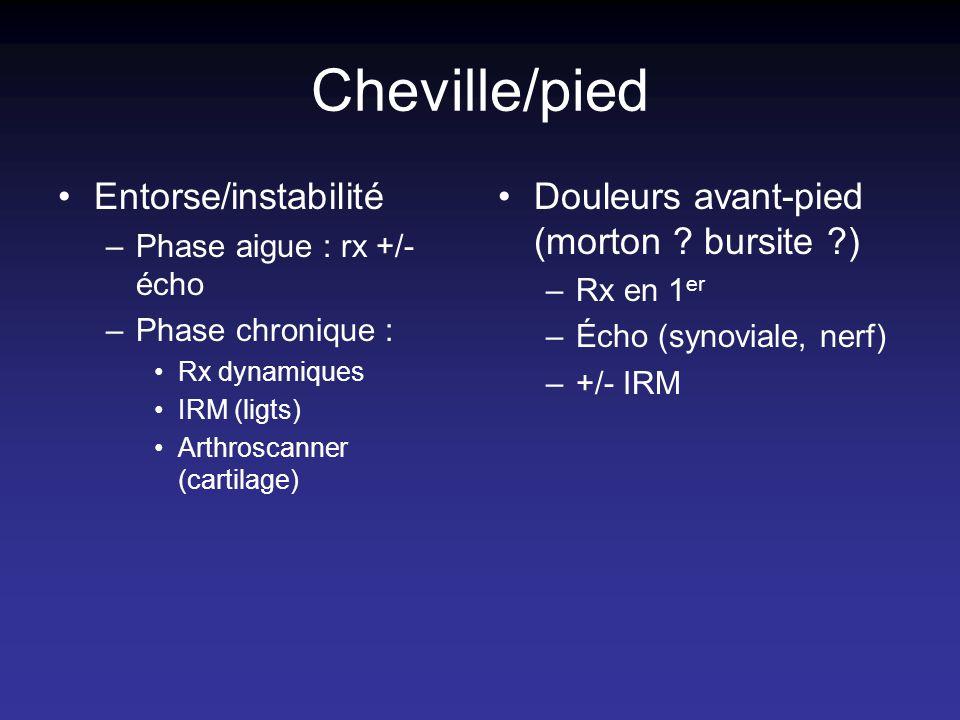 Cheville/pied Entorse/instabilité –Phase aigue : rx +/- écho –Phase chronique : Rx dynamiques IRM (ligts) Arthroscanner (cartilage) Douleurs avant-pie