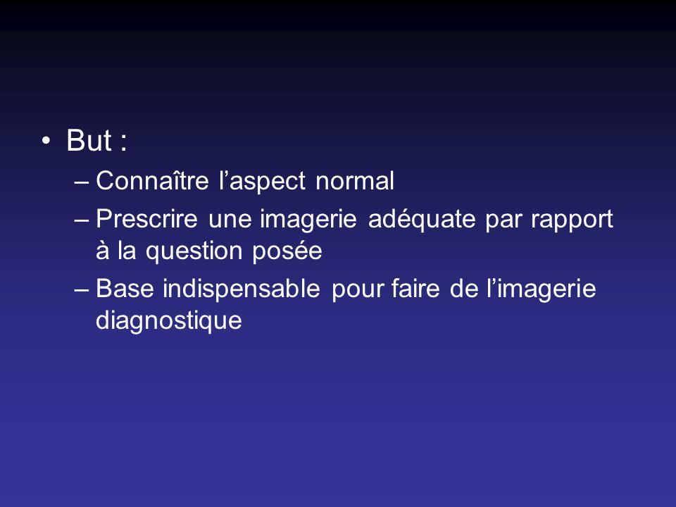 But : –Connaître laspect normal –Prescrire une imagerie adéquate par rapport à la question posée –Base indispensable pour faire de limagerie diagnosti