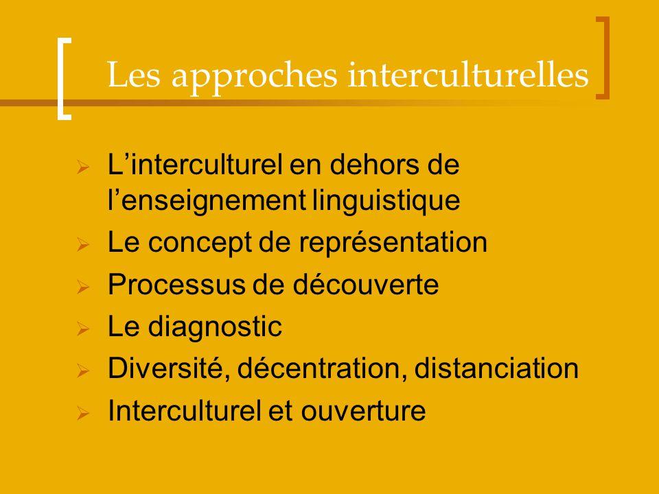 Linterculturel en dehors de lenseignement linguistique Le concept de représentation Processus de découverte Le diagnostic Diversité, décentration, dis