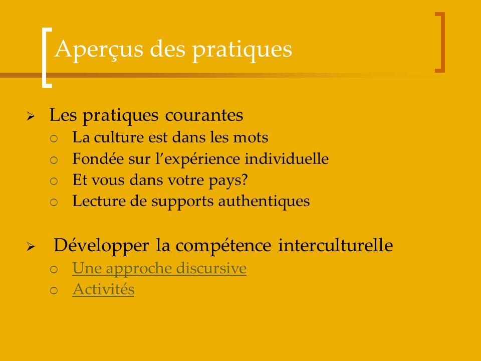 Aperçus des pratiques Les pratiques courantes La culture est dans les mots Fondée sur lexpérience individuelle Et vous dans votre pays? Lecture de sup