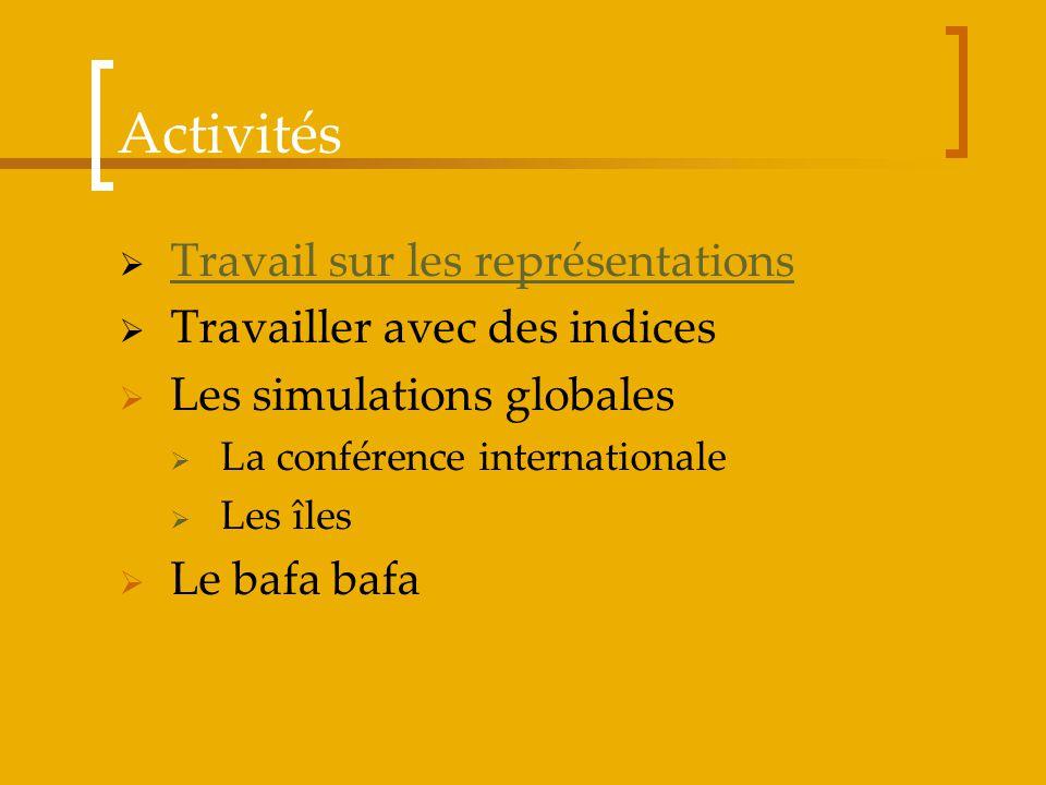 Activités Travail sur les représentations Travailler avec des indices Les simulations globales La conférence internationale Les îles Le bafa bafa