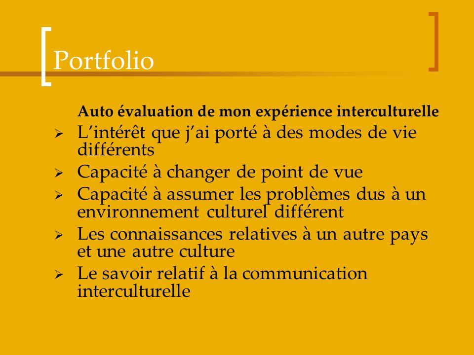 Portfolio Auto évaluation de mon expérience interculturelle Lintérêt que jai porté à des modes de vie différents Capacité à changer de point de vue Ca