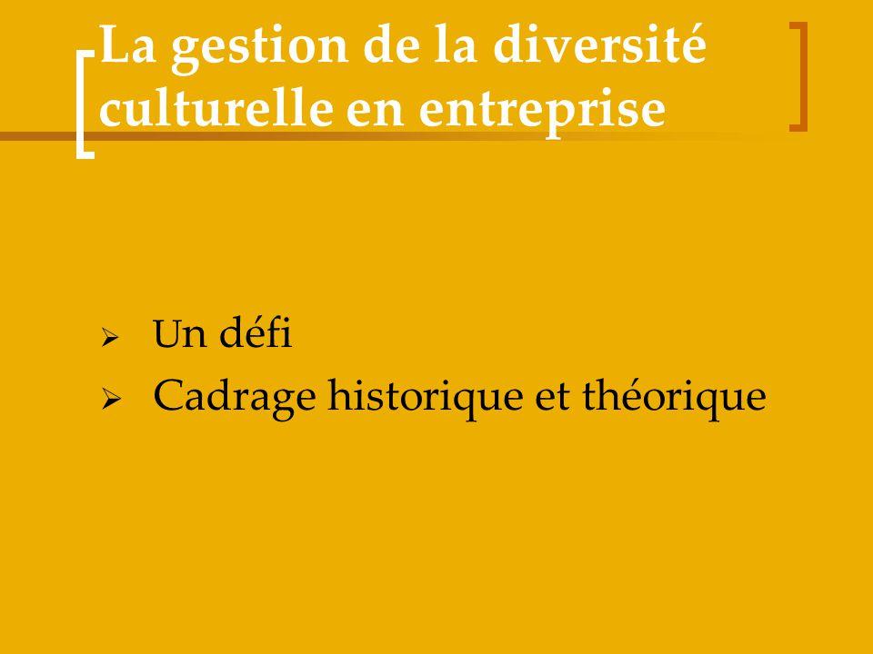 La gestion de la diversité culturelle en entreprise U n défi Cadrage historique et théorique