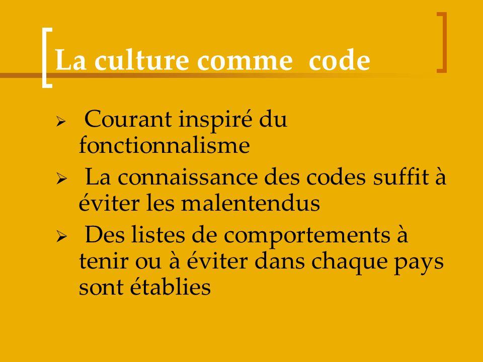 La culture comme code Courant inspiré du fonctionnalisme La connaissance des codes suffit à éviter les malentendus Des listes de comportements à tenir