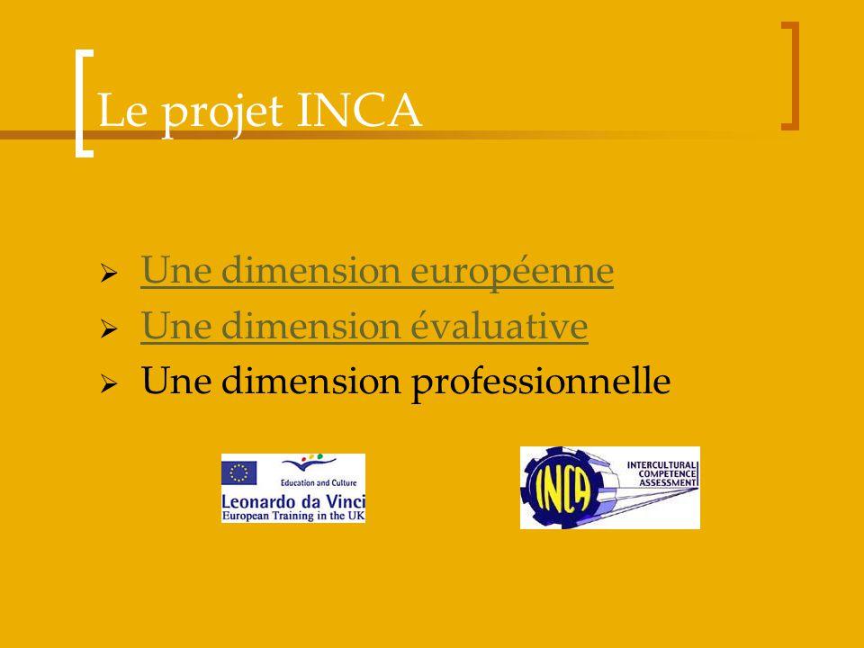 Le projet INCA Une dimension européenne Une dimension évaluative Une dimension professionnelle