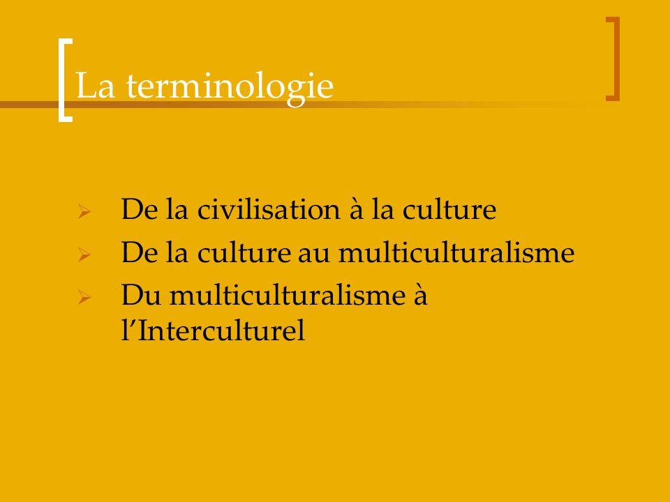 La terminologie De la civilisation à la culture De la culture au multiculturalisme Du multiculturalisme à lInterculturel