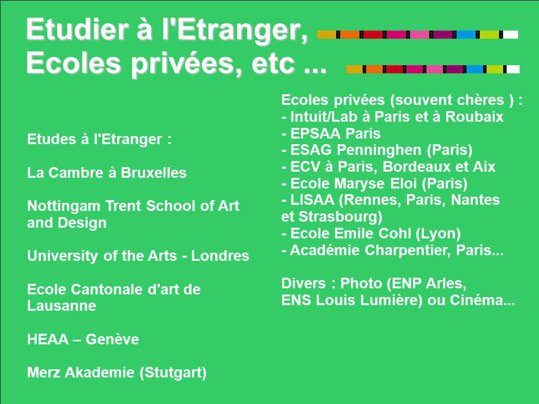 Etudier à l'Etranger, Ecoles privées, etc... Ecoles privées (souvent chères ) : - Intuit/Lab à Paris et à Roubaix - EPSAA Paris - ESAG Penninghen (Par