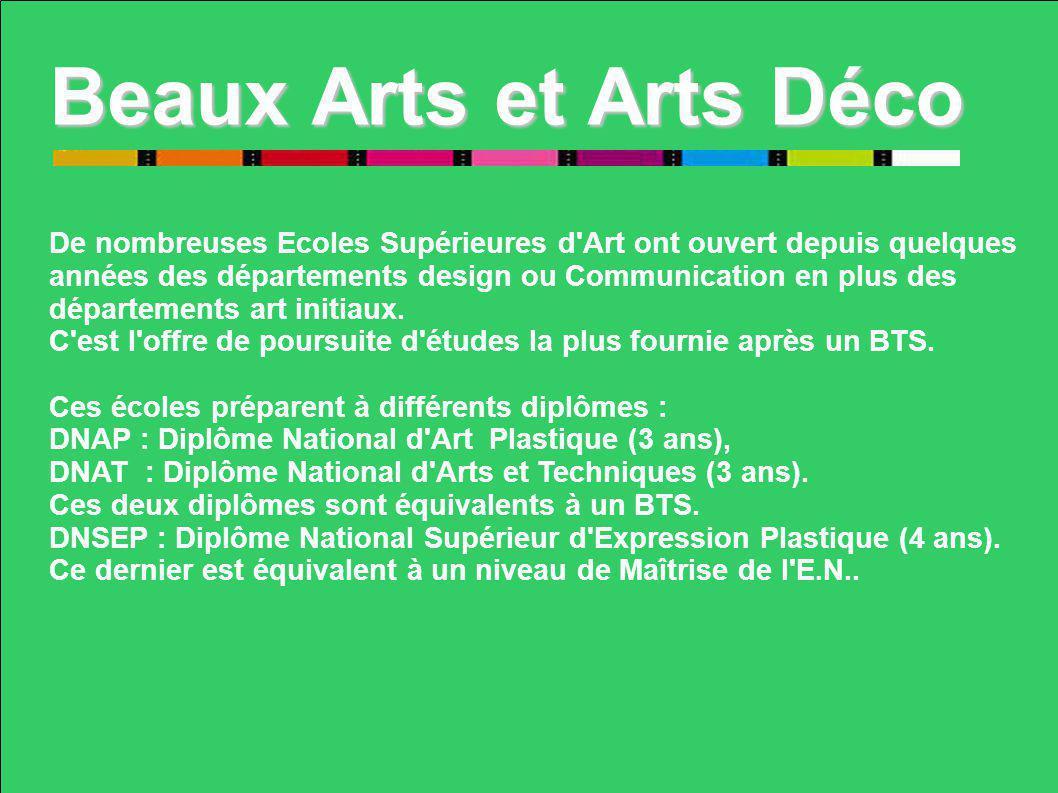 Beaux Arts et Arts Déco De nombreuses Ecoles Supérieures d'Art ont ouvert depuis quelques années des départements design ou Communication en plus des