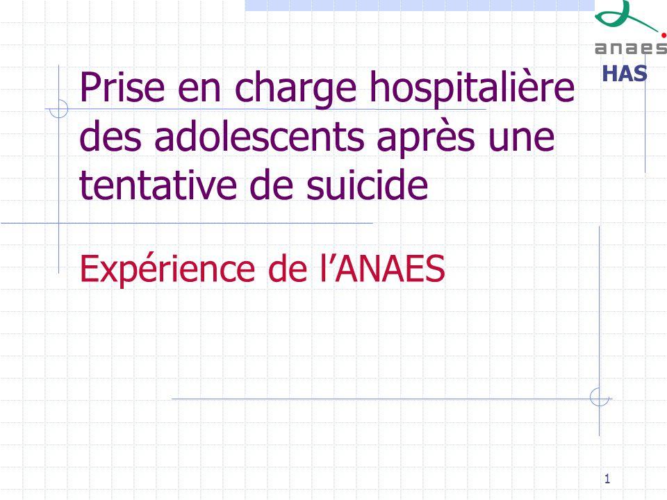 HAS 1 Prise en charge hospitalière des adolescents après une tentative de suicide Expérience de lANAES