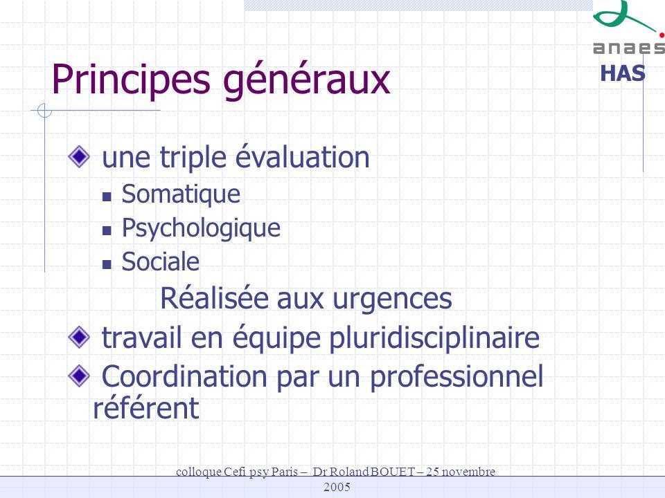HAS colloque Cefi psy Paris – Dr Roland BOUET – 25 novembre 2005 Principes généraux une triple évaluation Somatique Psychologique Sociale Réalisée aux