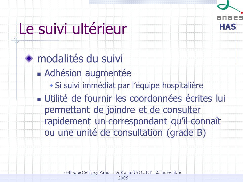 HAS colloque Cefi psy Paris – Dr Roland BOUET – 25 novembre 2005 Le suivi ultérieur modalités du suivi Adhésion augmentée Si suivi immédiat par léquip