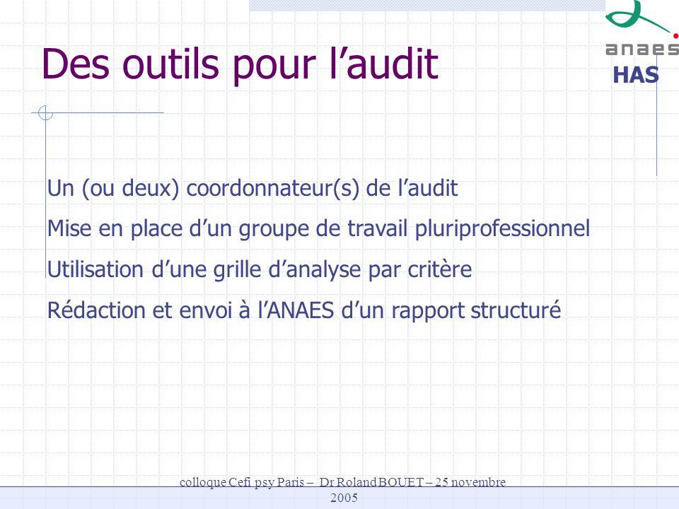 HAS colloque Cefi psy Paris – Dr Roland BOUET – 25 novembre 2005 Des outils pour laudit Un (ou deux) coordonnateur(s) de laudit Mise en place dun grou