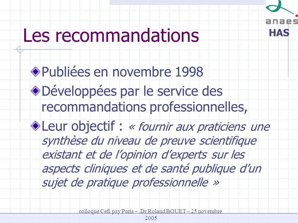 HAS colloque Cefi psy Paris – Dr Roland BOUET – 25 novembre 2005 Les recommandations (étapes) Avis de la Fédération française de psychiatrie pour préciser le thème et les questions à aborder Recherche documentaire Groupe de travail Groupe de lecture Groupe de travail Conseil scientifique