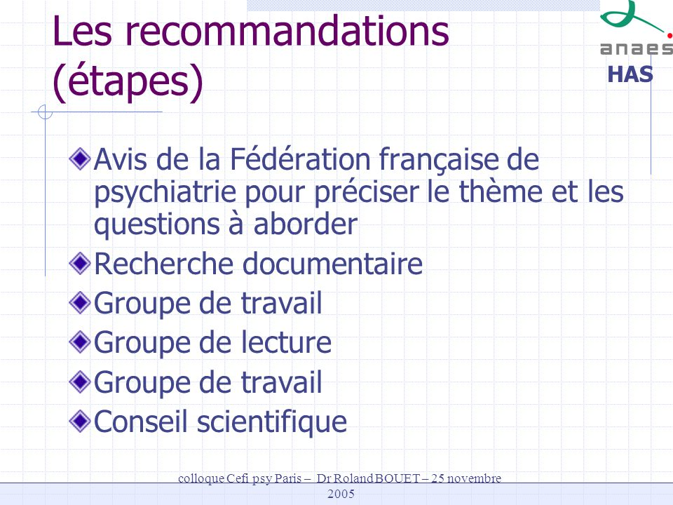 HAS colloque Cefi psy Paris – Dr Roland BOUET – 25 novembre 2005 Les recommandations (étapes) Avis de la Fédération française de psychiatrie pour préc