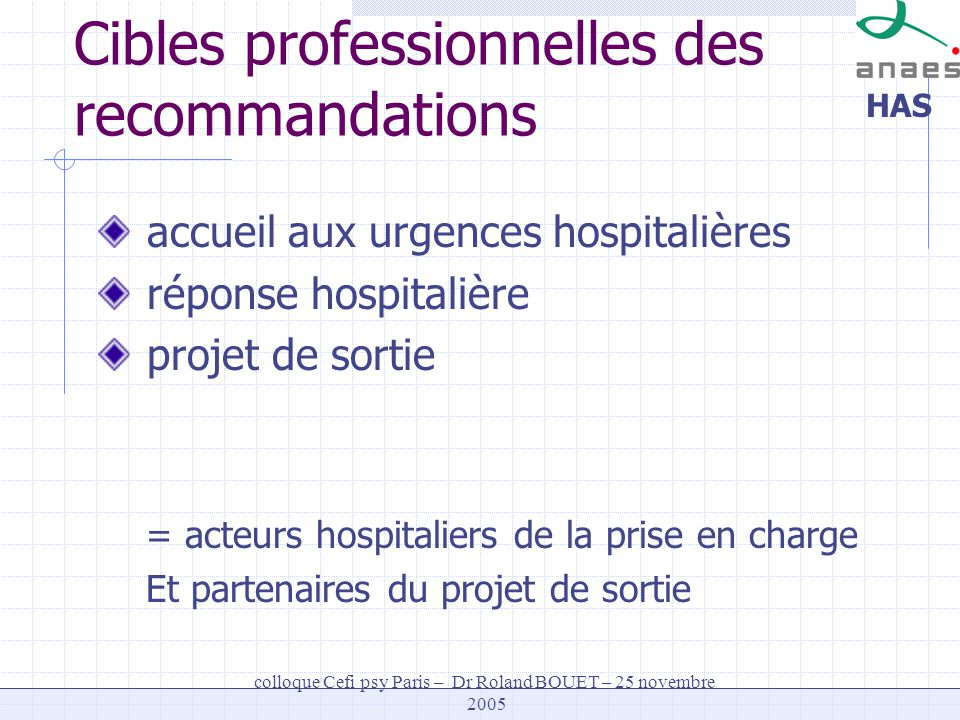 HAS colloque Cefi psy Paris – Dr Roland BOUET – 25 novembre 2005 Cibles professionnelles des recommandations accueil aux urgences hospitalières répons