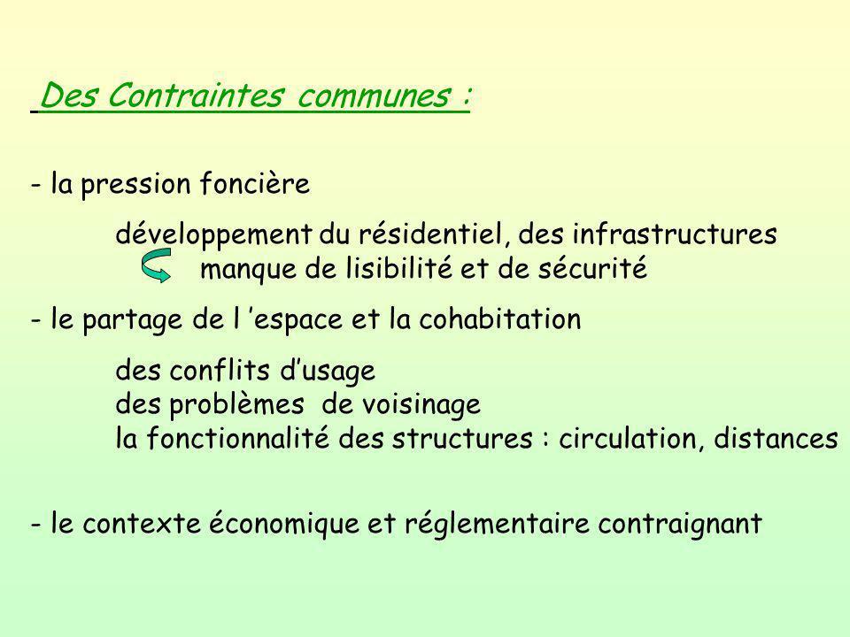 Des Contraintes communes : - la pression foncière développement du résidentiel, des infrastructures manque de lisibilité et de sécurité - le partage d