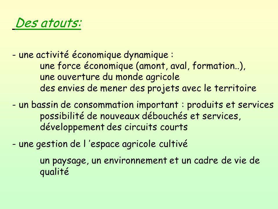 Des atouts: - une activité économique dynamique : une force économique (amont, aval, formation..), une ouverture du monde agricole des envies de mener
