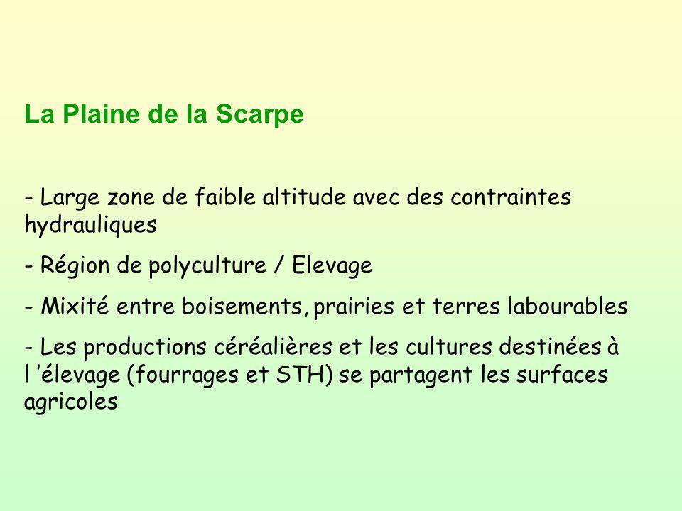 La Plaine de la Scarpe - Large zone de faible altitude avec des contraintes hydrauliques - Région de polyculture / Elevage - Mixité entre boisements,