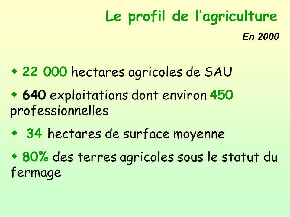 Le profil de lagriculture w 22 000 hectares agricoles de SAU w 640 exploitations dont environ 450 professionnelles w 34 hectares de surface moyenne w