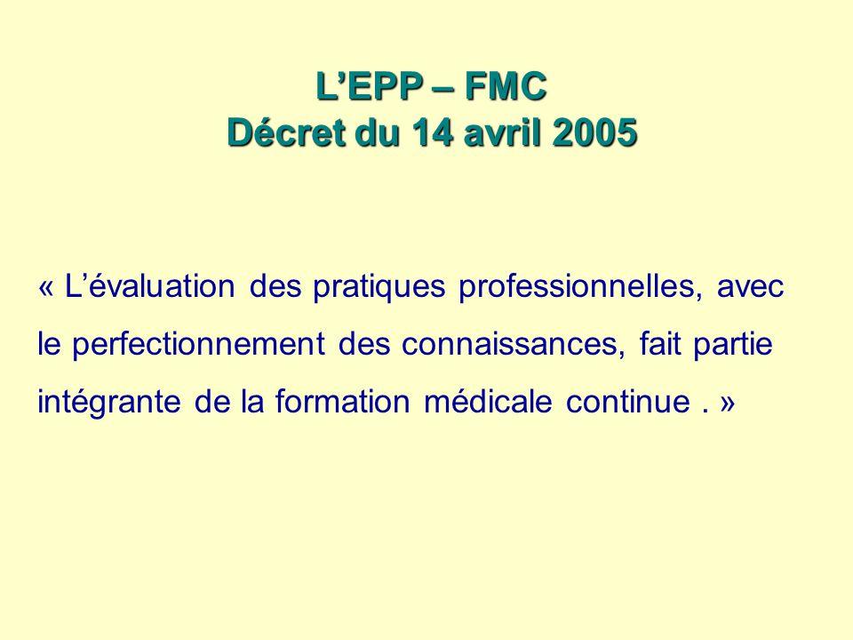 LEPP – FMC Décret du 14 avril 2005 « Lévaluation des pratiques professionnelles, avec le perfectionnement des connaissances, fait partie intégrante de