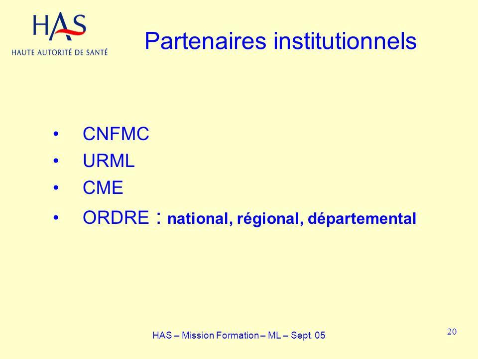 Partenaires institutionnels CNFMC URML CME ORDRE : national, régional, départemental HAS – Mission Formation – ML – Sept. 05 20
