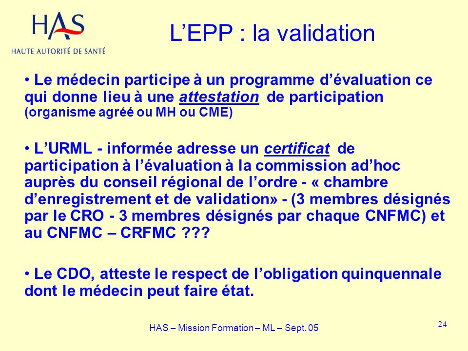 Le médecin participe à un programme dévaluation ce qui donne lieu à une attestation de participation (organisme agréé ou MH ou CME) LURML - informée a