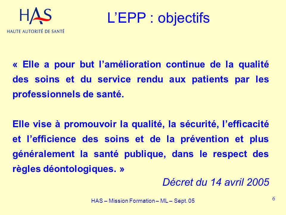 LEPP : objectifs « Elle a pour but lamélioration continue de la qualité des soins et du service rendu aux patients par les professionnels de santé. El