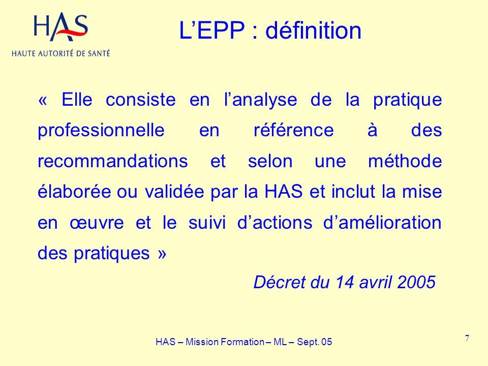 LEPP : définition « Elle consiste en lanalyse de la pratique professionnelle en référence à des recommandations et selon une méthode élaborée ou valid