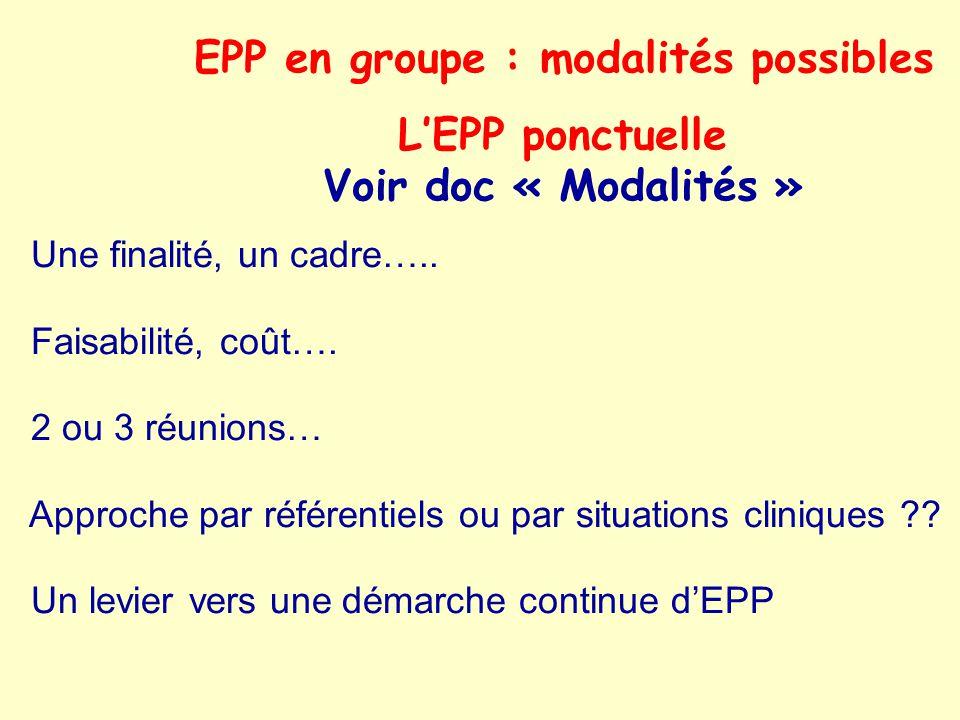 EPP en groupe : modalités possibles LEPP ponctuelle Voir doc « Modalités » Une finalité, un cadre….. Faisabilité, coût…. 2 ou 3 réunions… Approche par