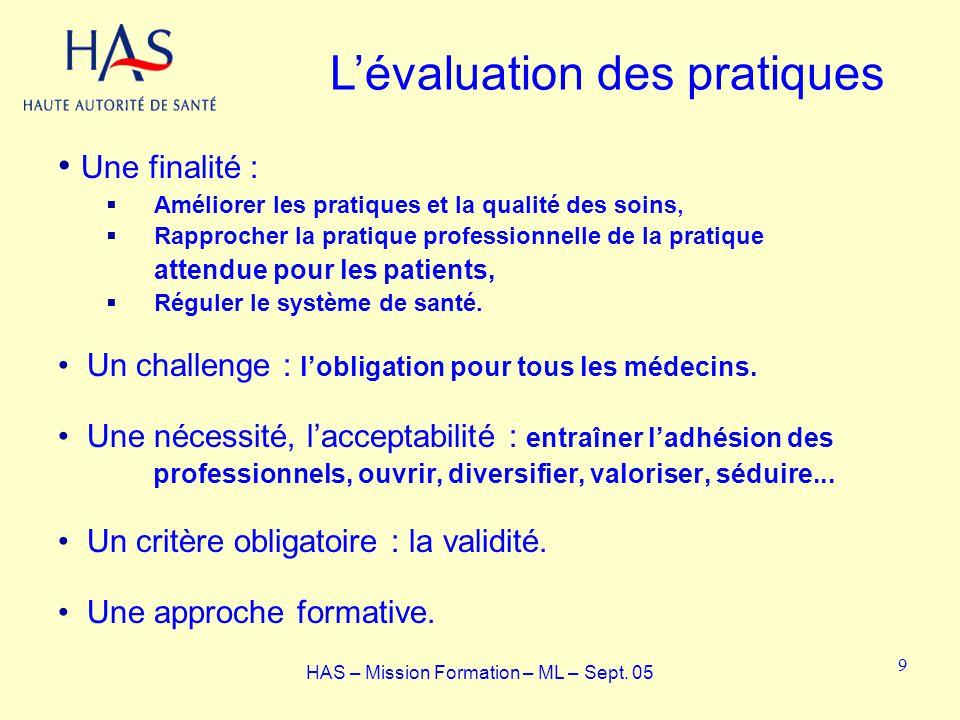 Une finalité : Améliorer les pratiques et la qualité des soins, Rapprocher la pratique professionnelle de la pratique attendue pour les patients, Régu