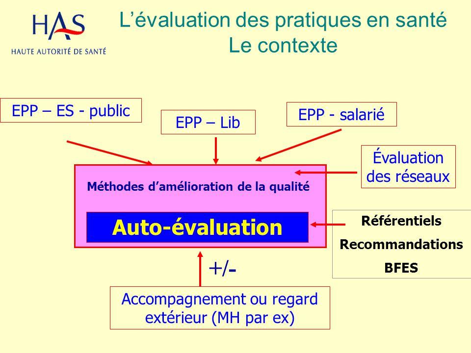 EPP – ES - public EPP – Lib EPP - salarié Méthodes damélioration de la qualité Accompagnement ou regard extérieur (MH par ex) Référentiels Recommandat