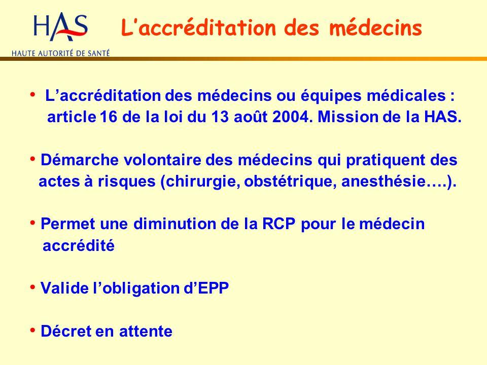 Laccréditation des médecins ou équipes médicales : article 16 de la loi du 13 août 2004. Mission de la HAS. Démarche volontaire des médecins qui prati