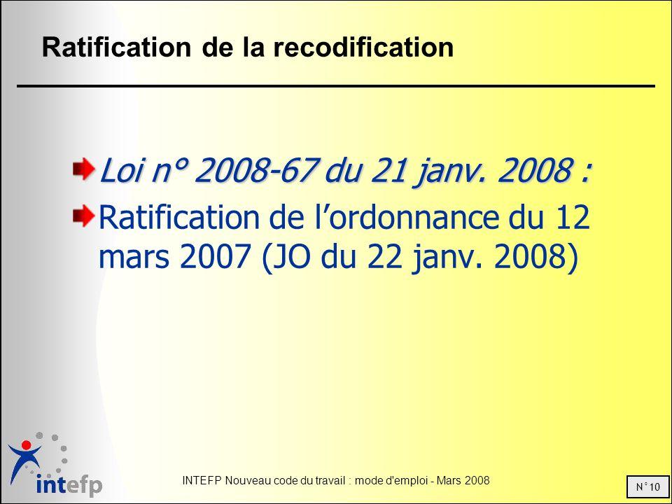 N°10 INTEFP Nouveau code du travail : mode d'emploi - Mars 2008 Ratification de la recodification Loi n° 2008-67 du 21 janv. 2008 : Ratification de lo