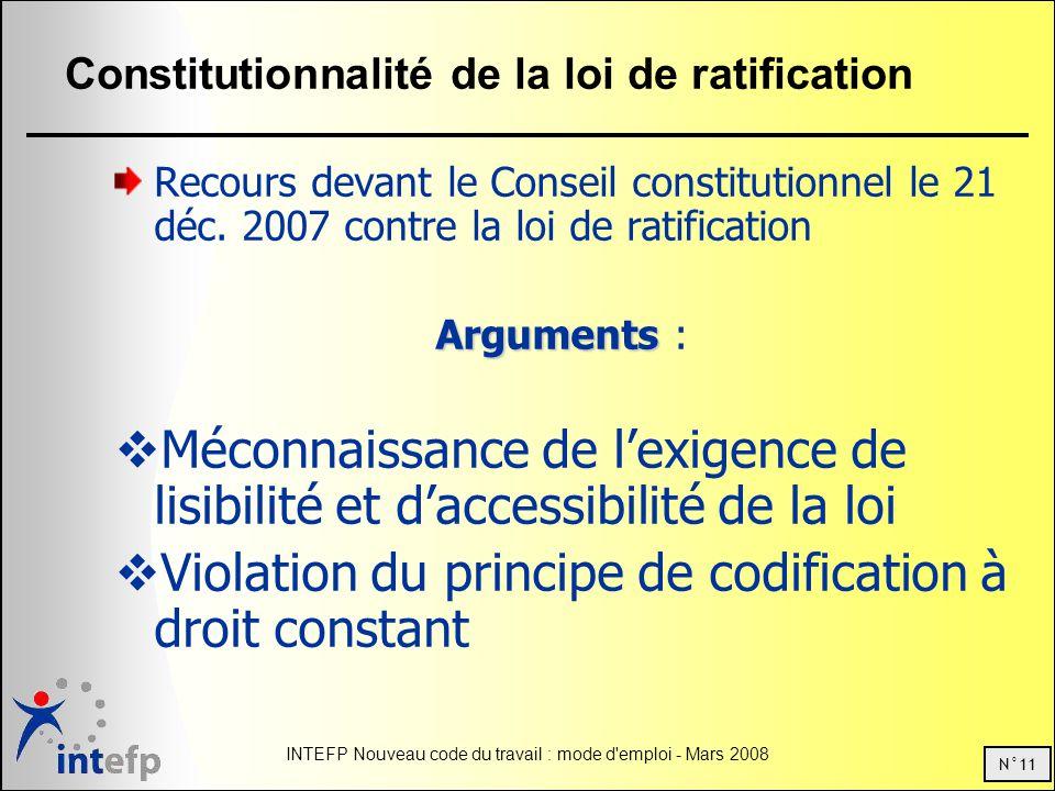 N°11 INTEFP Nouveau code du travail : mode d emploi - Mars 2008 Constitutionnalité de la loi de ratification Recours devant le Conseil constitutionnel le 21 déc.