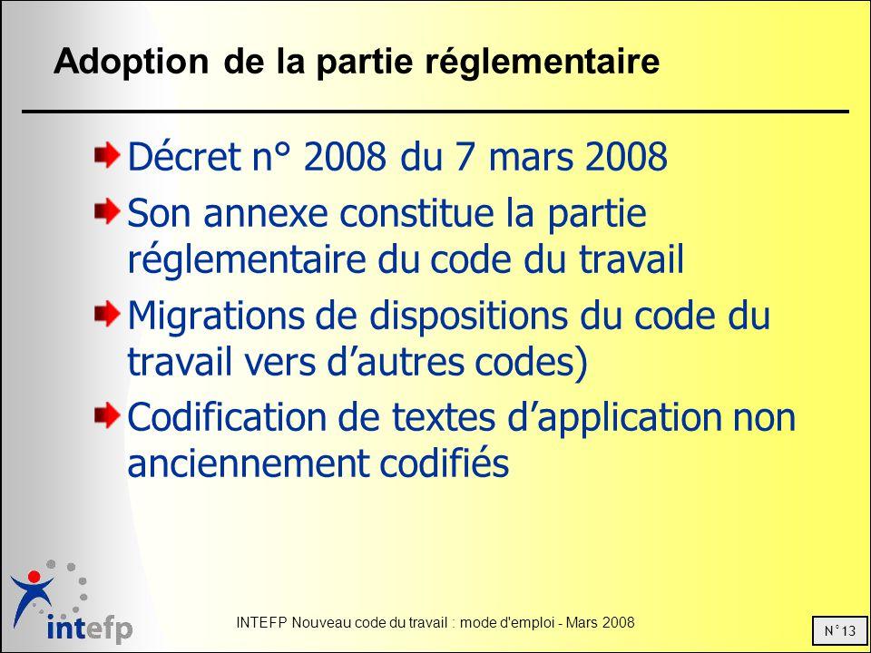 N°13 INTEFP Nouveau code du travail : mode d'emploi - Mars 2008 Adoption de la partie réglementaire Décret n° 2008 du 7 mars 2008 Son annexe constitue