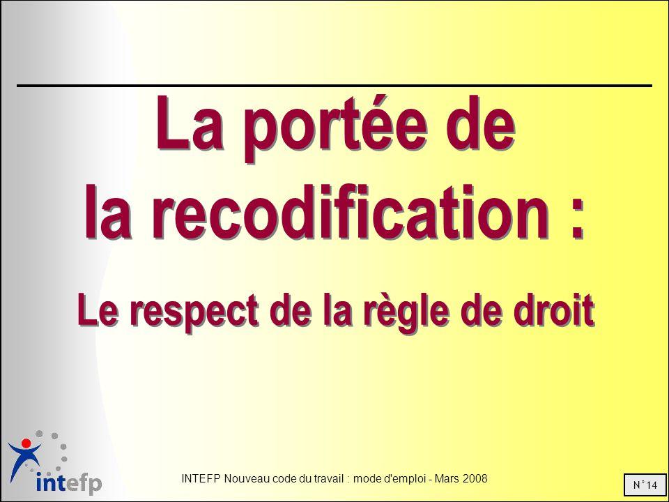 N°14 INTEFP Nouveau code du travail : mode d'emploi - Mars 2008 La portée de la recodification : Le respect de la règle de droit La portée de la recod