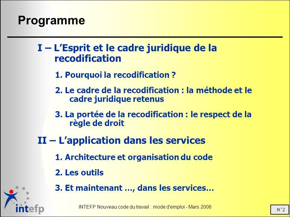 N°2 INTEFP Nouveau code du travail : mode d'emploi - Mars 2008 Programme I – LEsprit et le cadre juridique de la recodification 1. Pourquoi la recodif