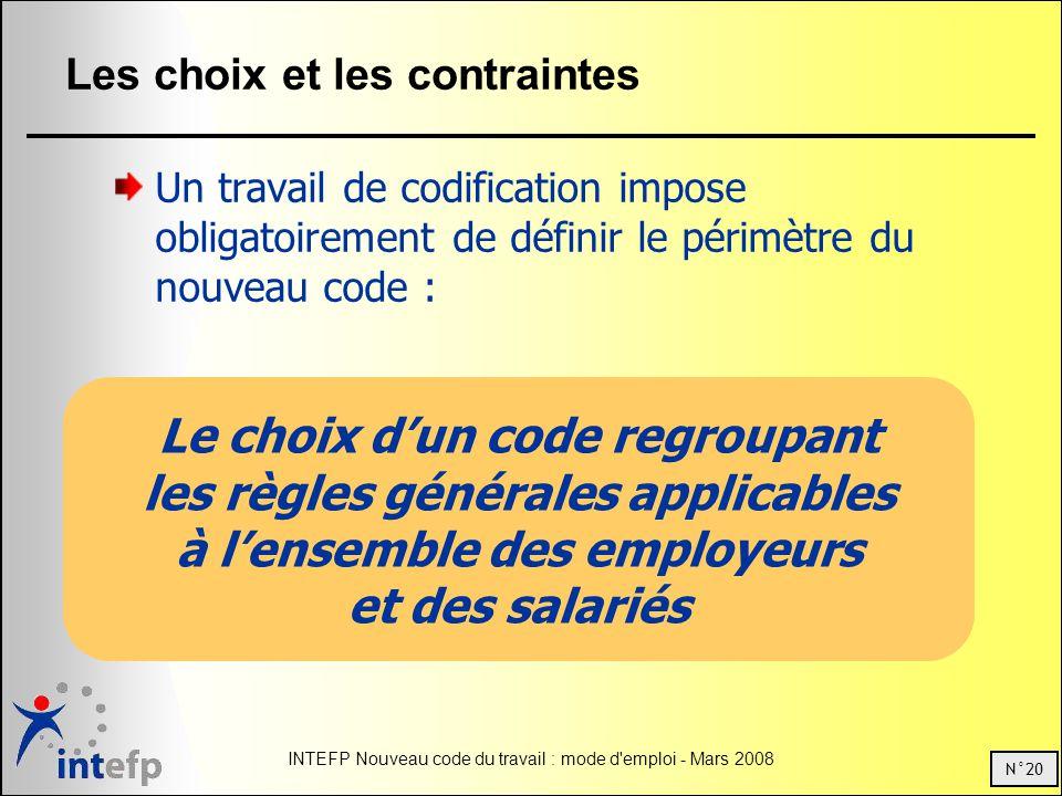 N°20 INTEFP Nouveau code du travail : mode d'emploi - Mars 2008 Les choix et les contraintes Un travail de codification impose obligatoirement de défi