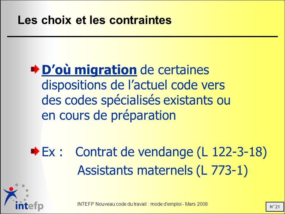 N°21 INTEFP Nouveau code du travail : mode d emploi - Mars 2008 Les choix et les contraintes Doù migration de certaines dispositions de lactuel code vers des codes spécialisés existants ou en cours de préparation Ex : Contrat de vendange (L 122-3-18) Assistants maternels (L 773-1)