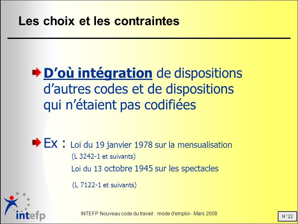 N°22 INTEFP Nouveau code du travail : mode d'emploi - Mars 2008 Les choix et les contraintes Doù intégration de dispositions dautres codes et de dispo