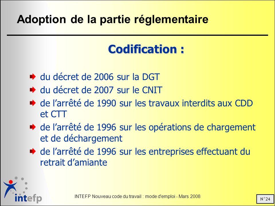 N°24 INTEFP Nouveau code du travail : mode d'emploi - Mars 2008 Adoption de la partie réglementaire Codification : du décret de 2006 sur la DGT du déc