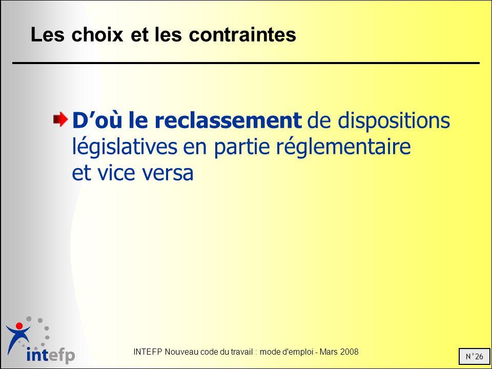 N°26 INTEFP Nouveau code du travail : mode d emploi - Mars 2008 Les choix et les contraintes Doù le reclassement de dispositions législatives en partie réglementaire et vice versa