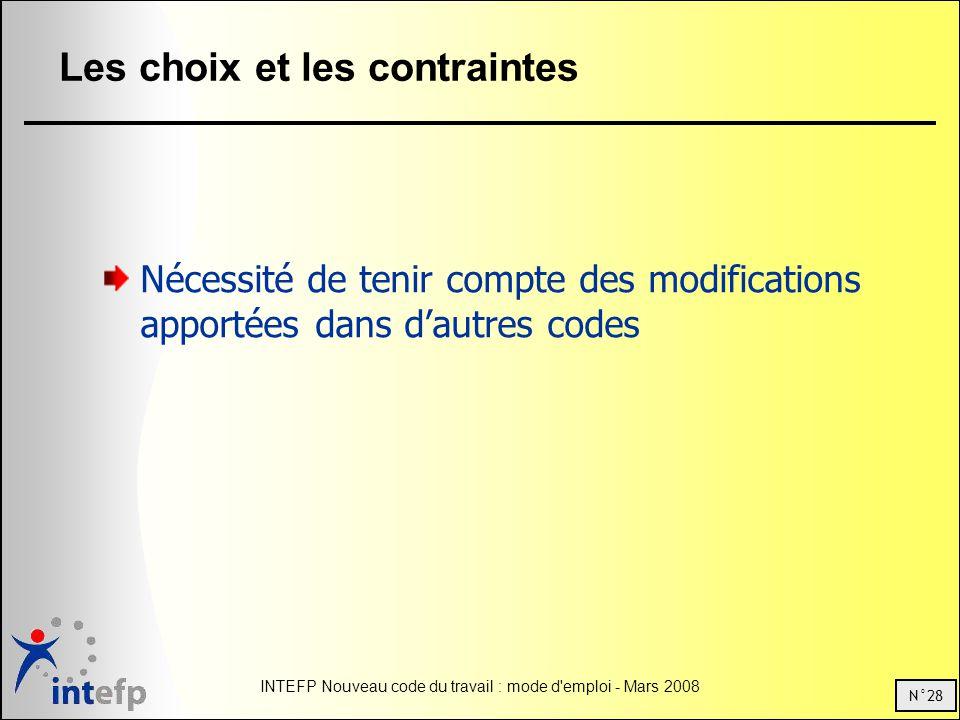 N°28 INTEFP Nouveau code du travail : mode d emploi - Mars 2008 Les choix et les contraintes Nécessité de tenir compte des modifications apportées dans dautres codes