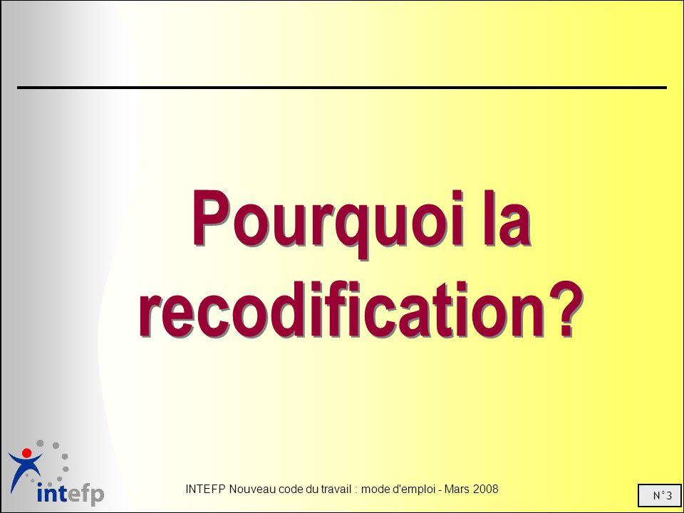 N°3 INTEFP Nouveau code du travail : mode d emploi - Mars 2008 Pourquoi la recodification?