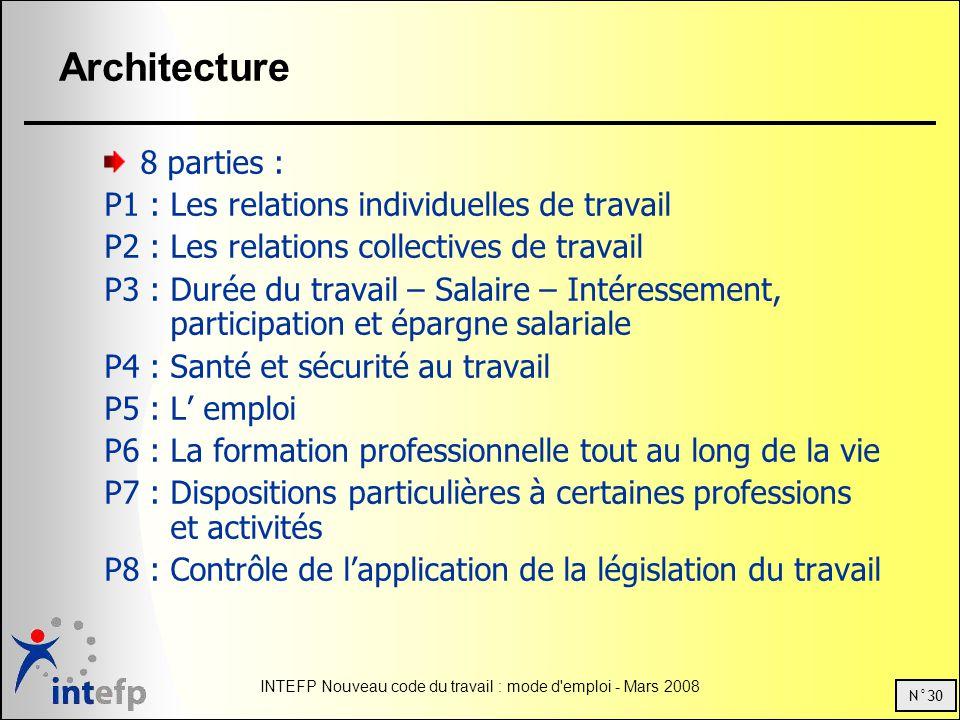 N°30 INTEFP Nouveau code du travail : mode d'emploi - Mars 2008 Architecture 8 parties : P1 : Les relations individuelles de travail P2 : Les relation