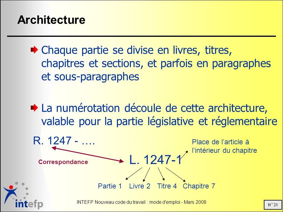 N°31 INTEFP Nouveau code du travail : mode d'emploi - Mars 2008 Architecture Chaque partie se divise en livres, titres, chapitres et sections, et parf