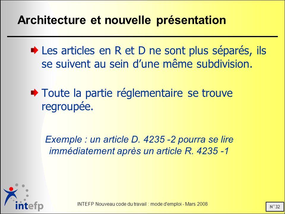 N°32 INTEFP Nouveau code du travail : mode d emploi - Mars 2008 Architecture et nouvelle présentation Les articles en R et D ne sont plus séparés, ils se suivent au sein dune même subdivision.