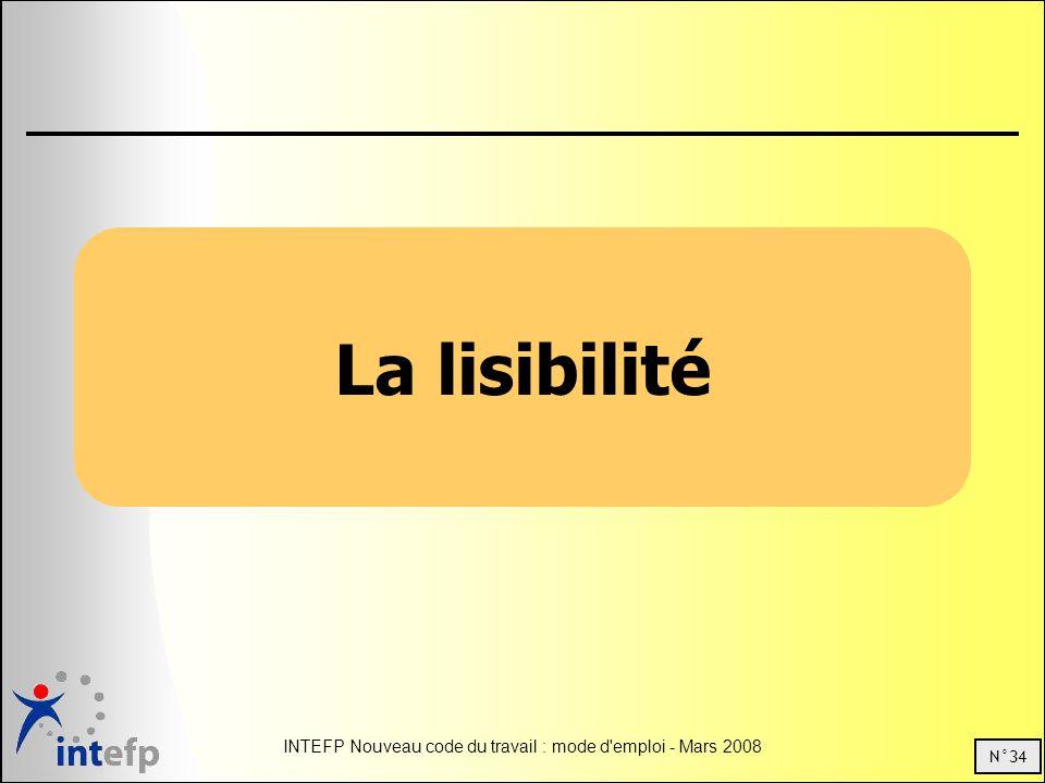 N°34 INTEFP Nouveau code du travail : mode d emploi - Mars 2008 La lisibilité